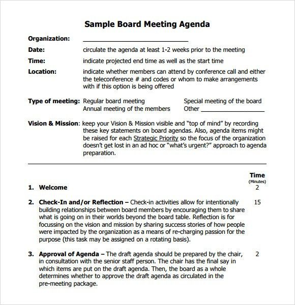 Sample Of A Meeting Agenda Free Meeting Agenda Template Sample - sample meeting agenda 2