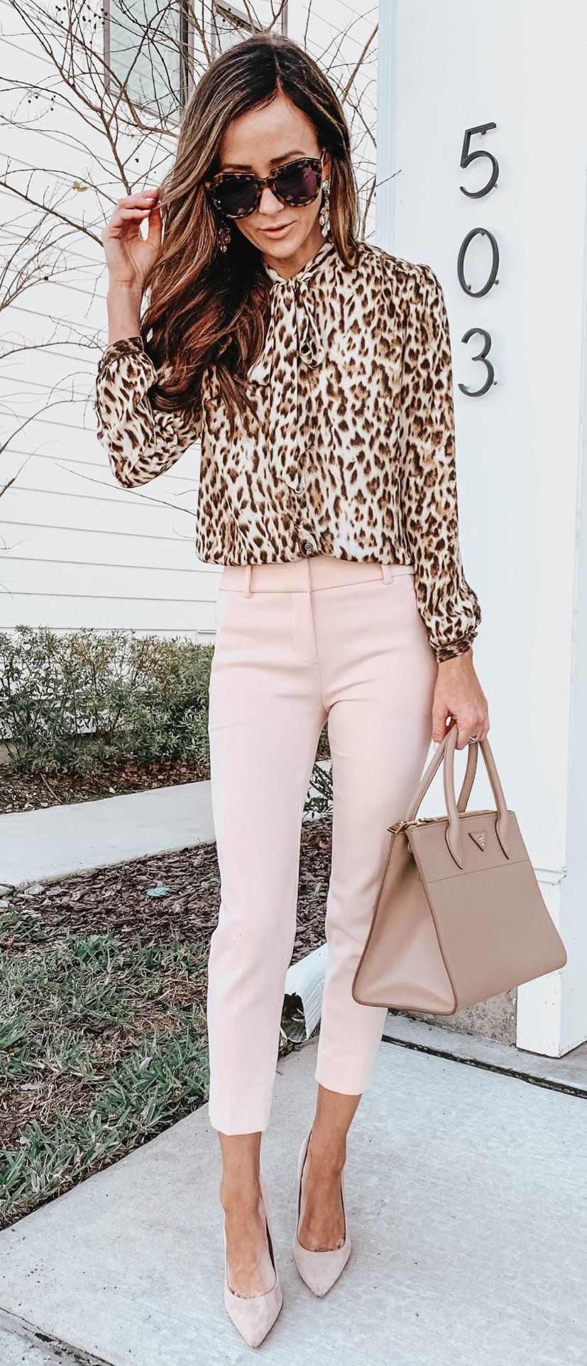 brown and black leopard pattern long-sleeved shirt #spring #outfits