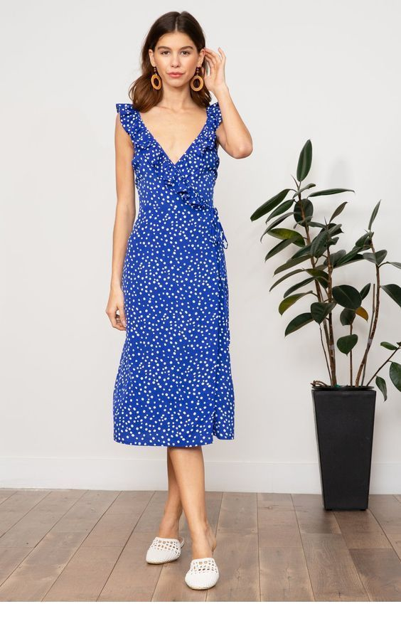 Sweet blue printed midi dress