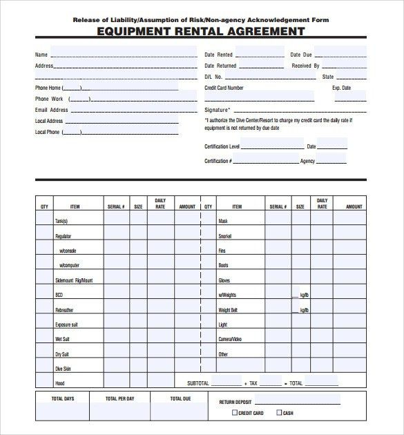 Rental Agreement Form Template Printable Sample Rental Lease - equipment lease agreement template