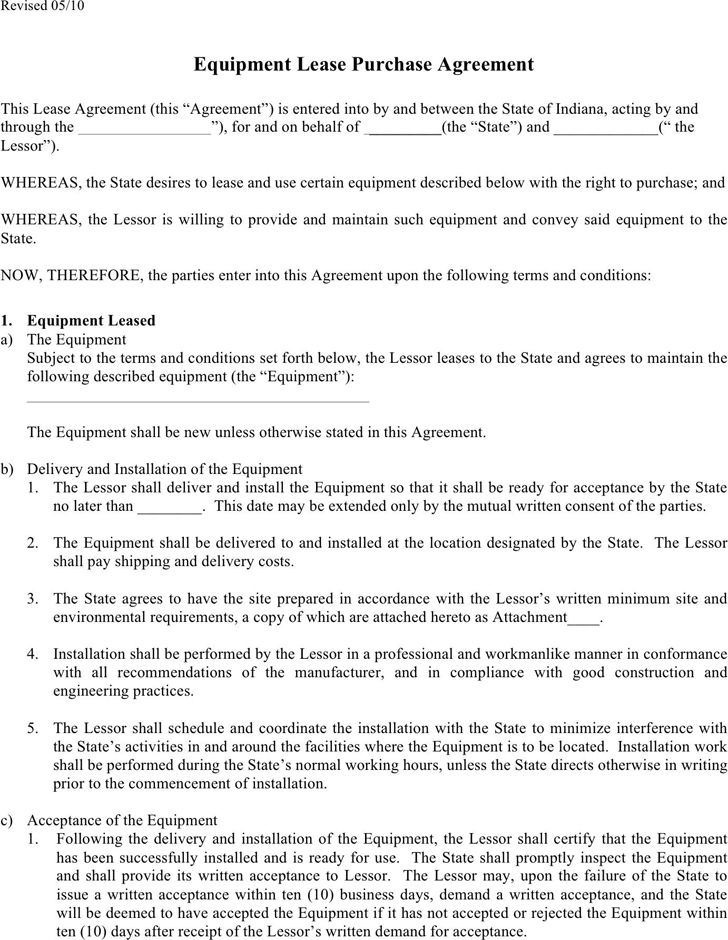 equipment lease purchase agreement template - Akbagreenw