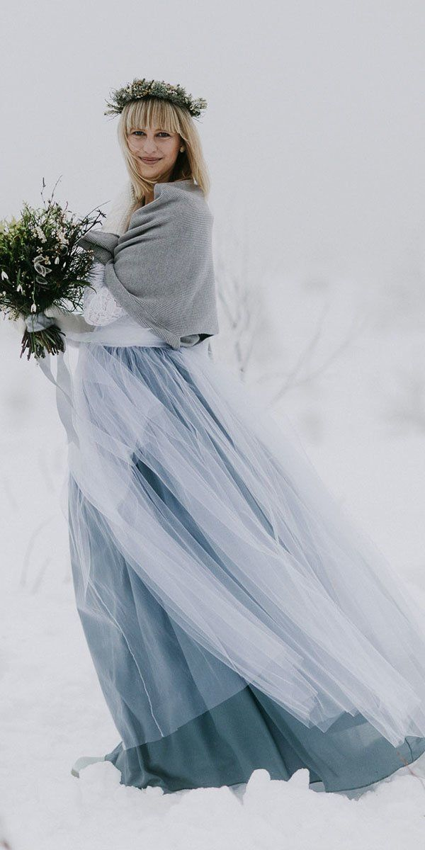 24 Winter Wedding Dresses & Outfits ❤ winter wedding dresses outfits with coat blue tulle skirt everbay co #weddingforward #wedding #bride