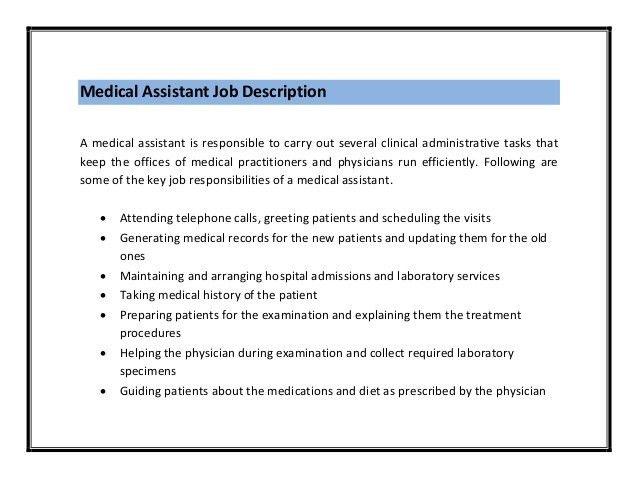Administrative Medical Assistant Duties Job Description Office - executive assistant job description resume