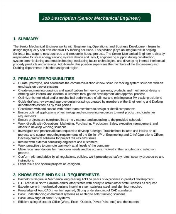mechanical technician resume