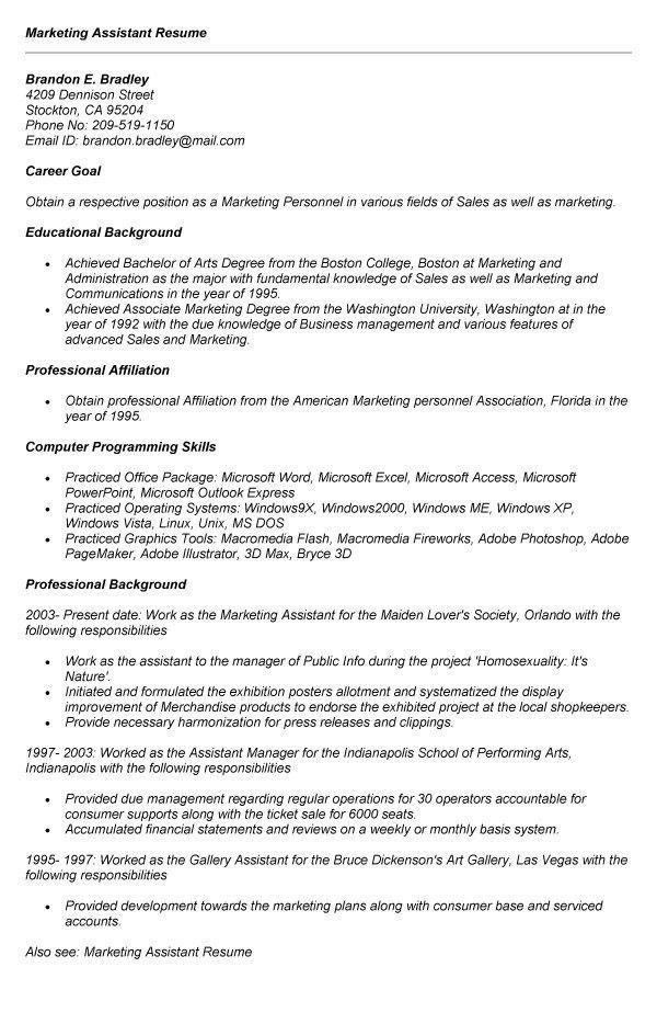 marketing assistant job description for resume