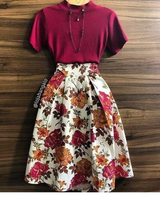 Burgundy top and floral midi skirt