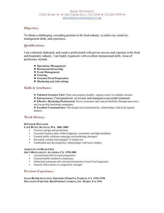 Resume Objective For Restaurant Restaurant Manager Resume Sample - chef resume objective