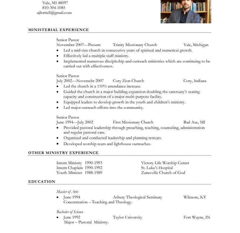 senior pastor resume
