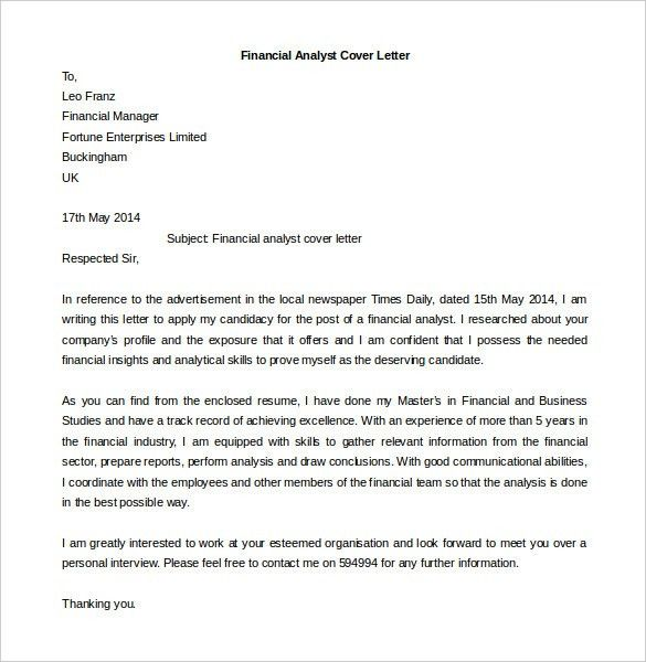 Sample Financial Analyst Cover Letters  Financial Analyst Cover Letter