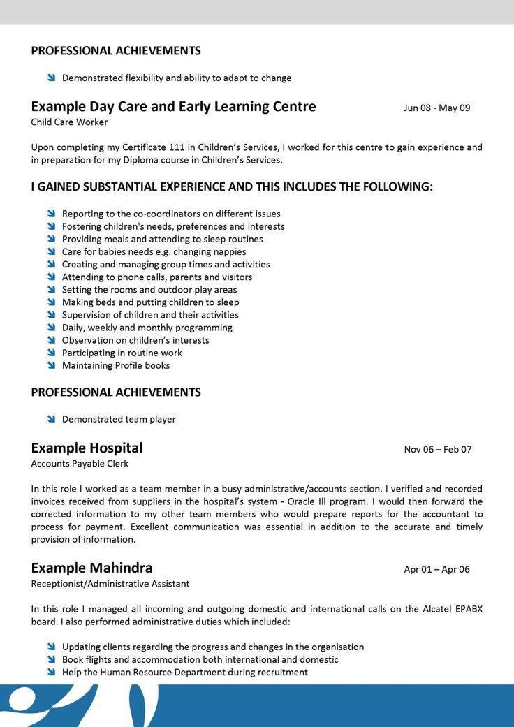 Daycare Attendant Sample Resume Professional Teacher
