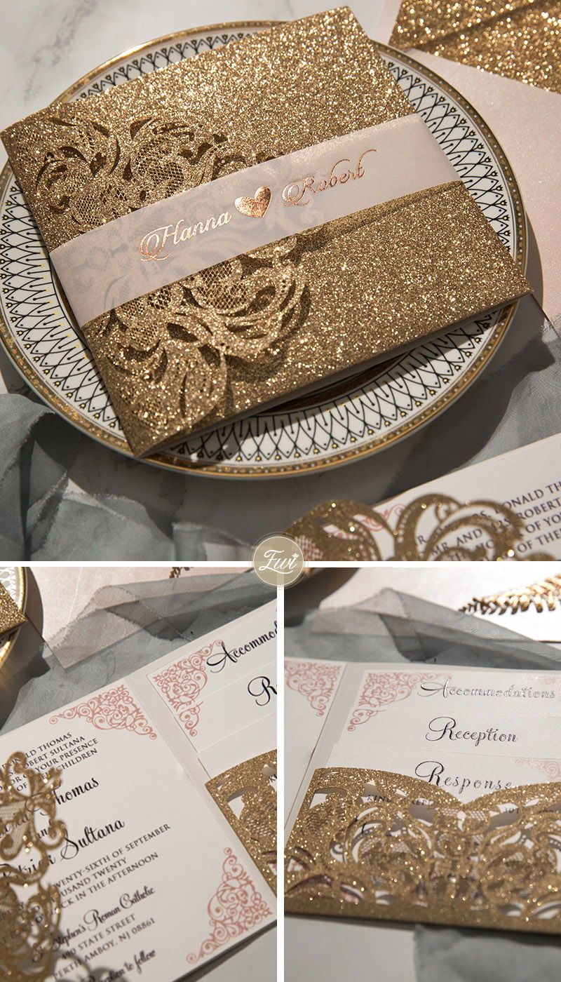 #EWI luxury champagne gold glitter tri-fold laser cut pocket wedding invite with belly band EWWS224