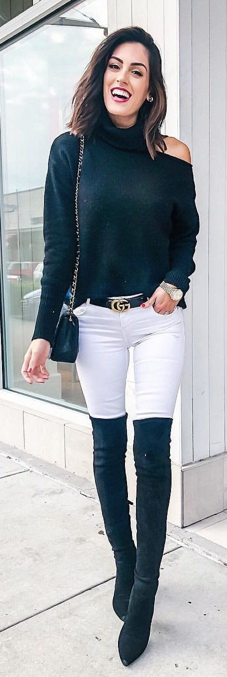 black long-sleeved top and white pants