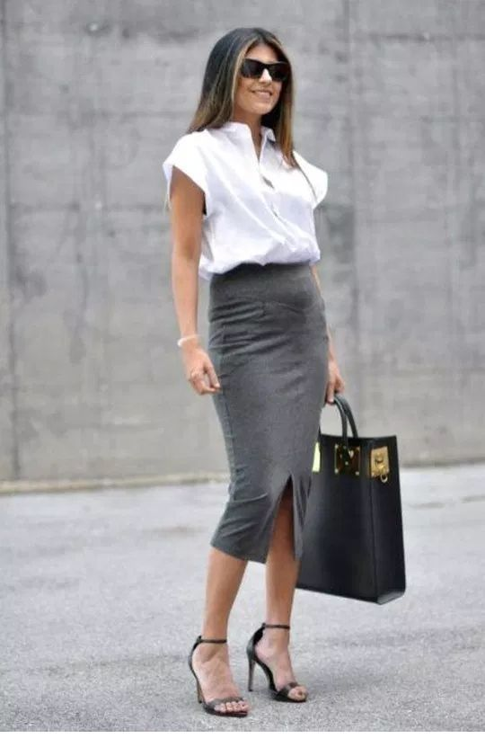 Oversize white shirt and pencil grey skirt