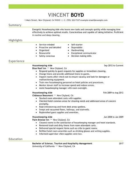 Examples Of Housekeeping Resumes - Examples of Resumes