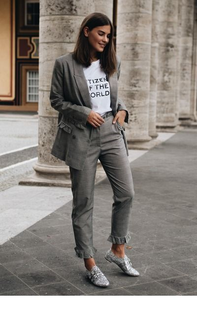 All grey style with a white t-shirt