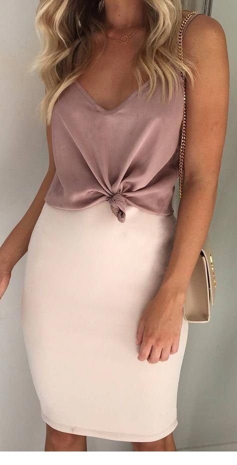 Brown top and beige skirt