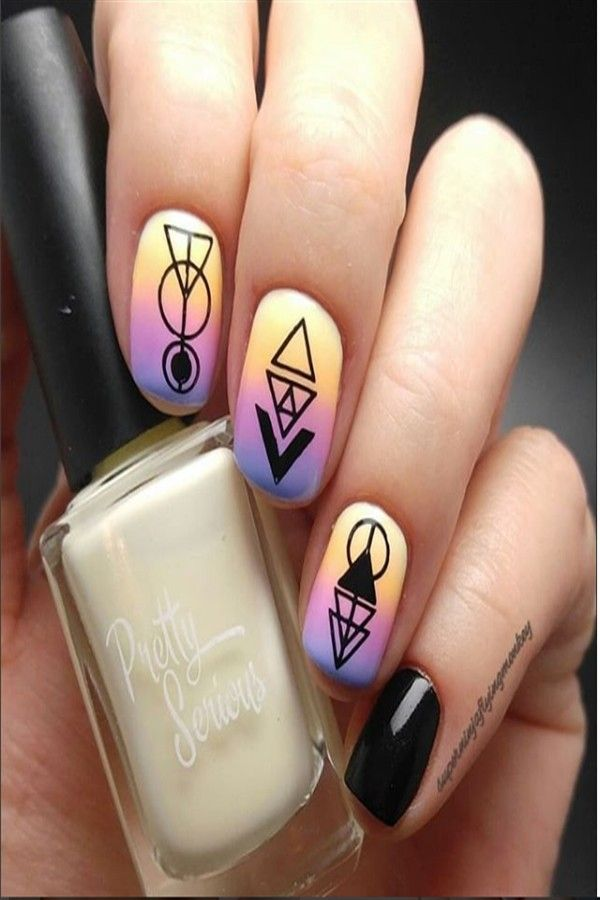 30+ Awesome Geometric Nail Art Designs trendy ideas – Fashonails #Geometric_nails #Geometric_nail_art #nail_art_design_ideas