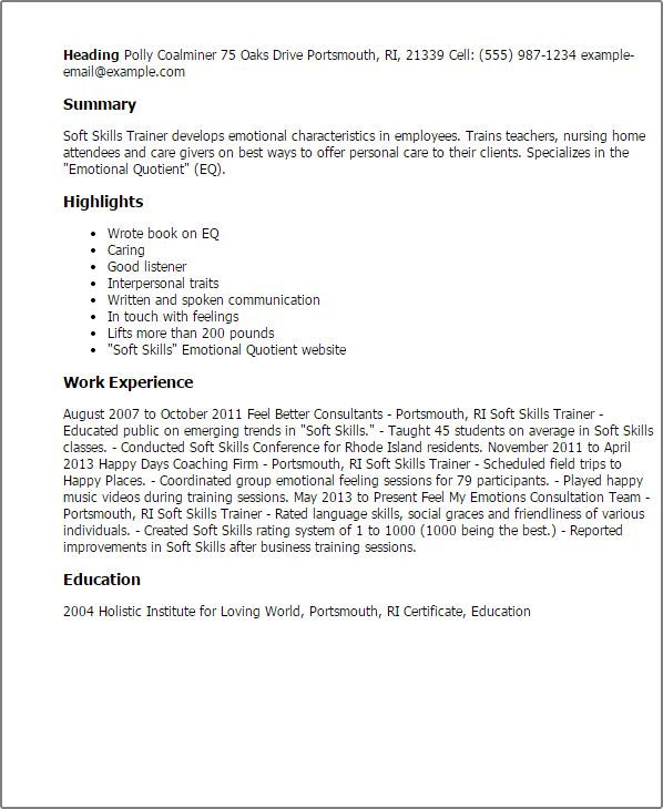soft skills trainer sample resume node2001-cvresumepaasprovider