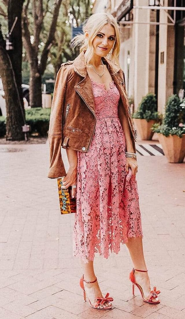 gorgeous outfit for this season : midi dress heels brown biker jacket bag