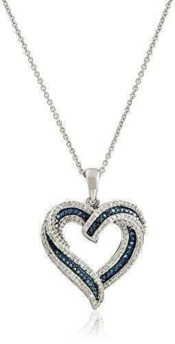 Sterling Silver Blue and White Diamond Heart Pendant Necklace