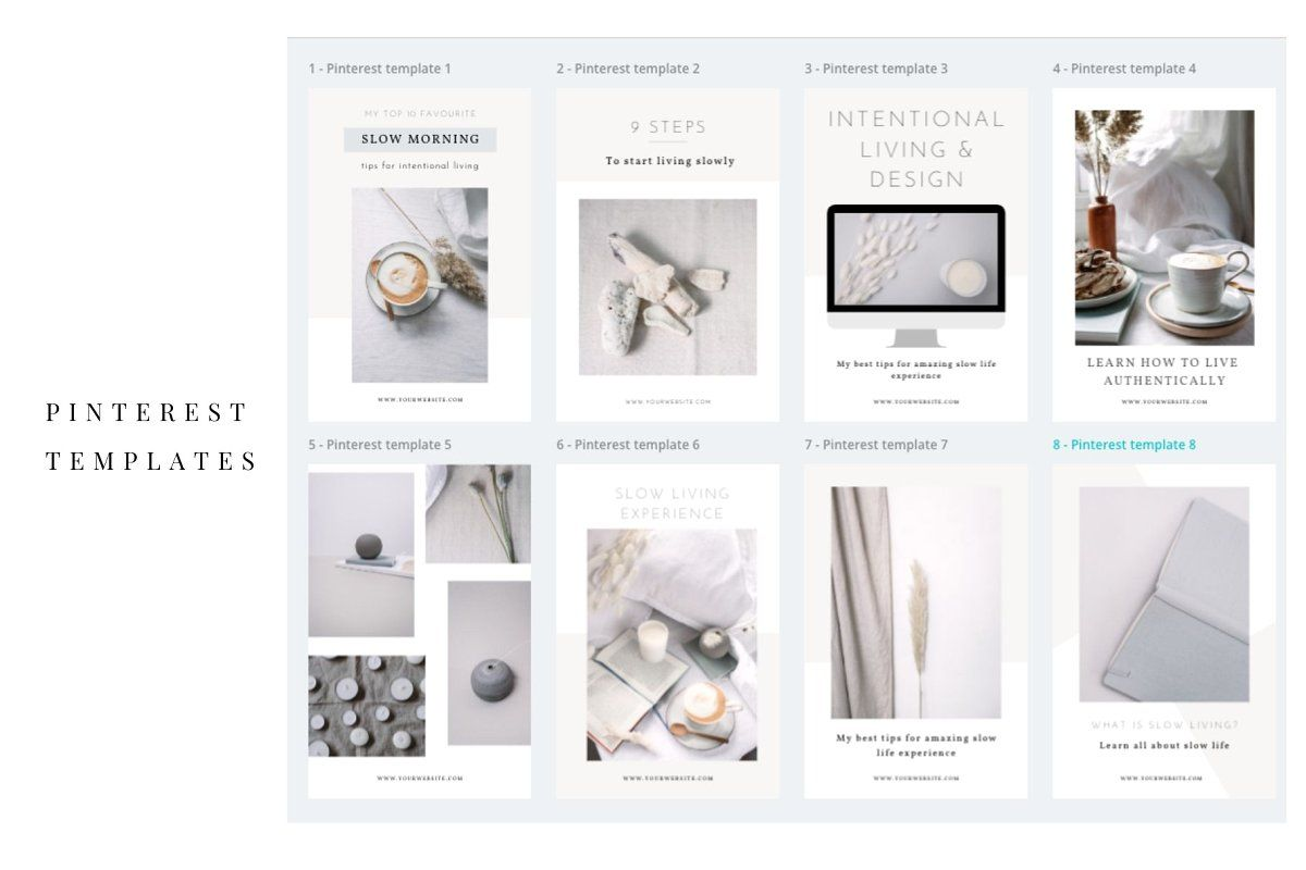 Pinterest Templates Canva Bundle + Stock Photos - Slow Life and Living Lifestyle