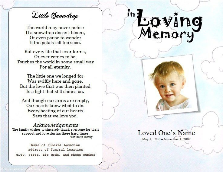 Child Funeral Program Template. Webfront Nursery Blue Memorial .  Funeral Pamphlet Template Free