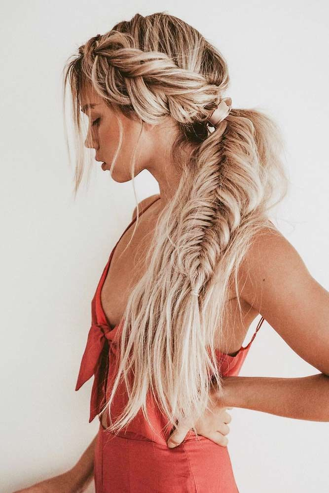 Ponytail With Side Braid #sidebraid #ponytail ★ Bohemian hairstyles are nothing but the embodiment of wildness and femininity! Want your hair to look effortless and cute? Dive into our gallery to keep up with boho trends: everything from short curly updo ideas to easy long braid styles is here! #bohemianhairstyles #bohemianhair #summerhairstyles #festivalhairstyles #boho #bohostyle