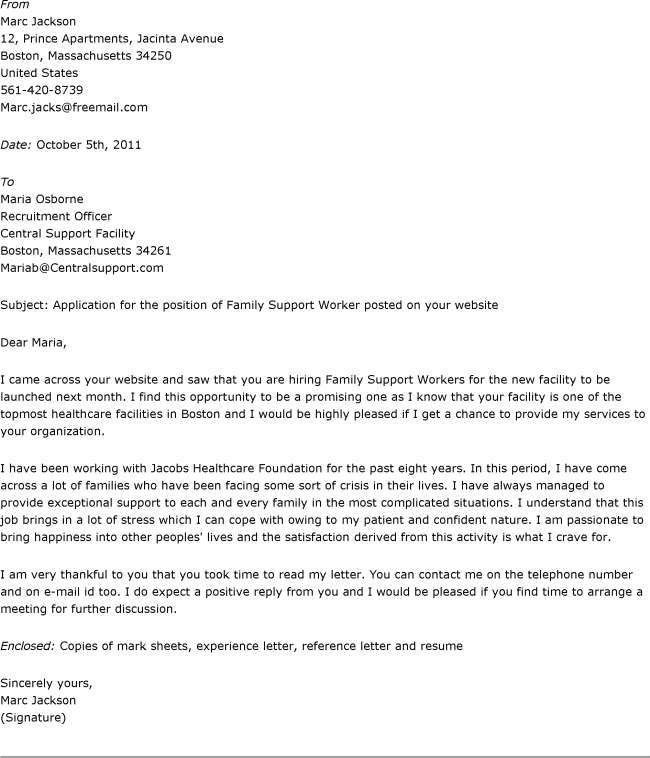 Sample Family Support Worker Cover Letter   Cover Letter