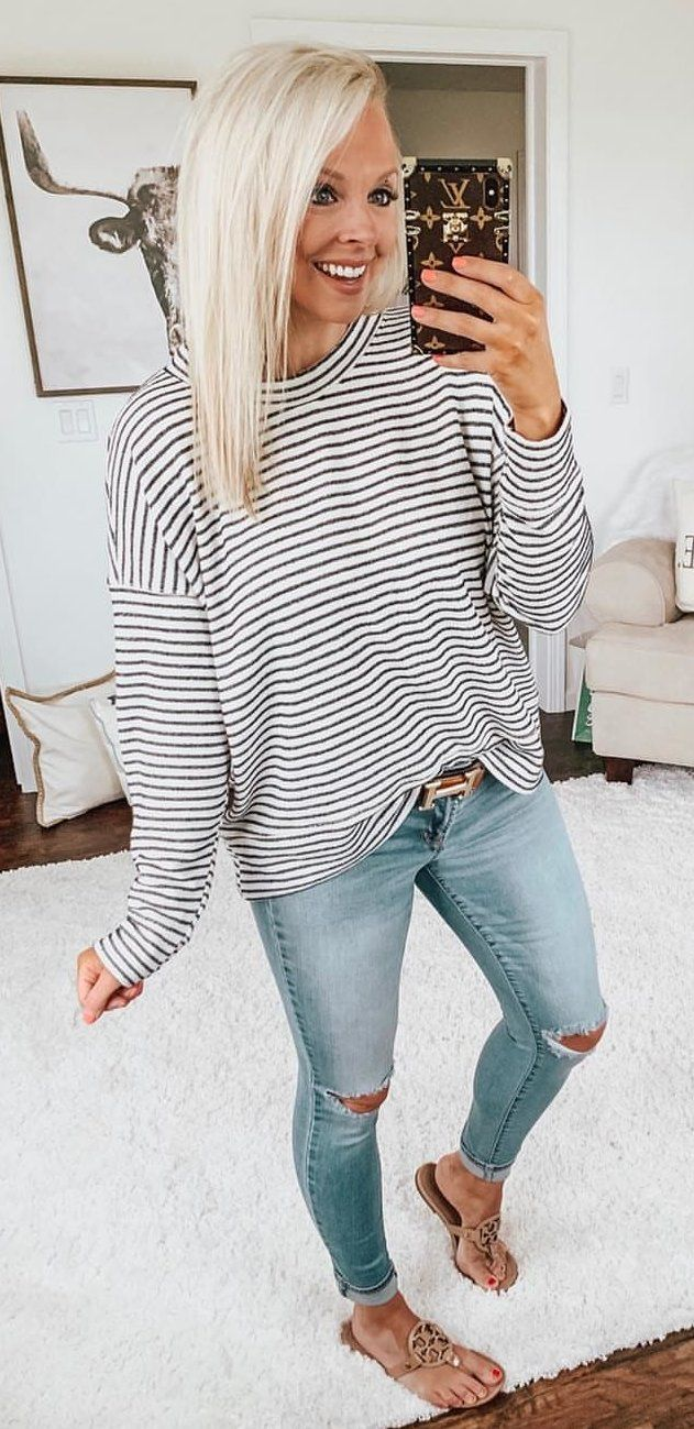 black and white striped round-neck long-sleeved shirt #spring #outfits