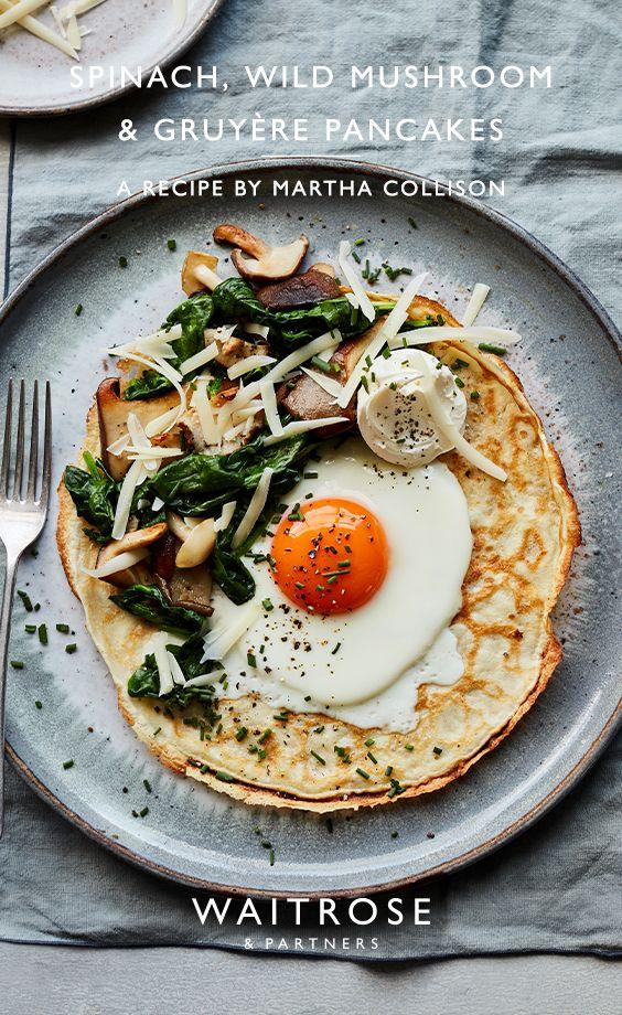 Spinach, wild mushroom & gruyère pancakes