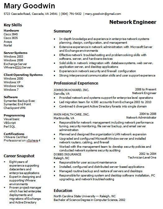 Network Administrator Resume Samples Network Administrator Resume