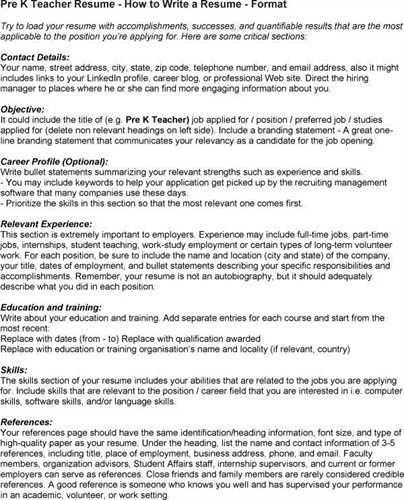 nice pre teacher resume pictures chronological resume templates