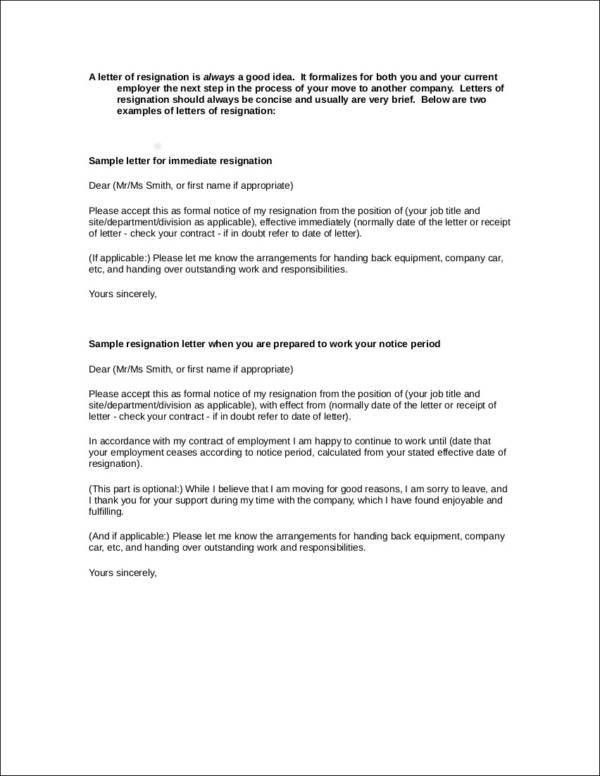Handing In Notice Example Notice Letter 15 Free Samples Examples - resignation letter short notice