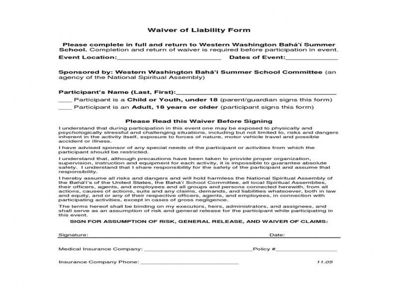 Generic Release Of Liability Form Printable Sample Release And - vehicle release form