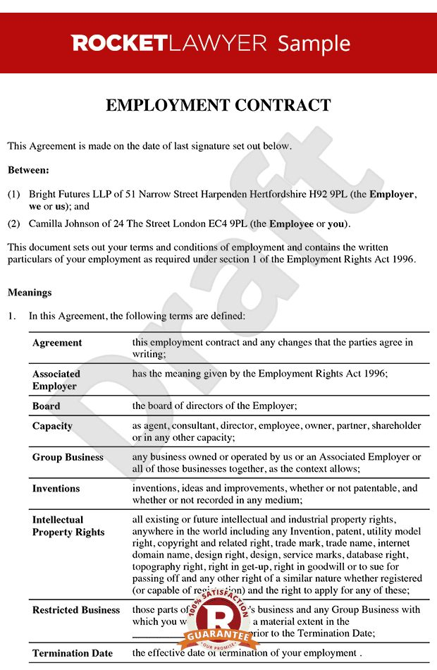 Employment Contract Template Employment Contract Template 10 Free - executive employment contract