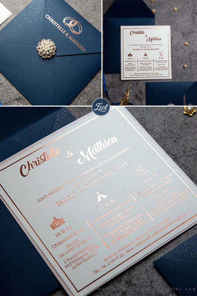 #EWI elegant rose gold foiling for event timeline with navy envelop from EWI