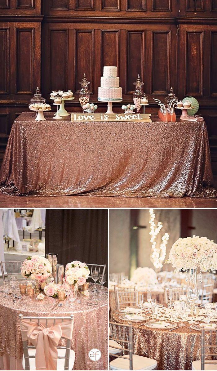 glamorous rose gold wedding table cloth wedding ideas