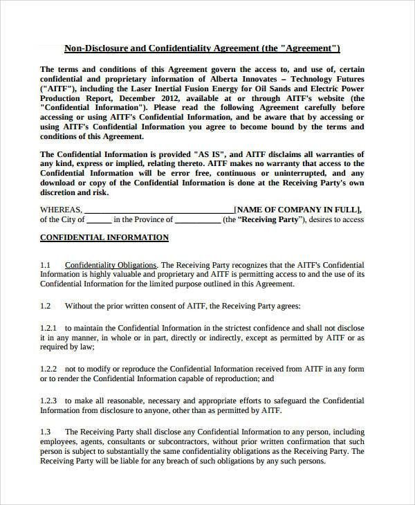 Free Nda Forms Confidentiality Agreement Non Disclosure Agreement - basic agreement
