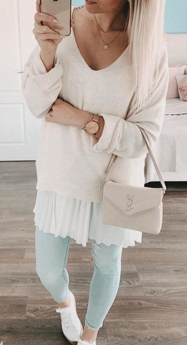 white scoop-neck long-sleeved dress #spring #outfits