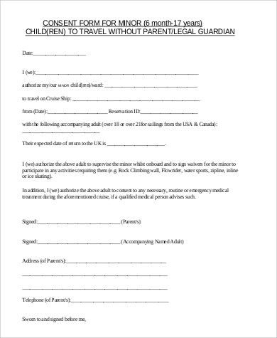 Travel Consent Form Template Sample Child Travel Consent Form 5 - travel consent form sample