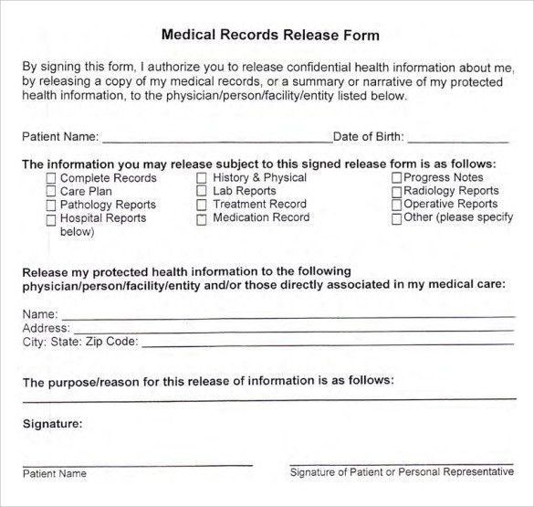 Medical Record Form Template Medical Records Release Form - medical clearance forms