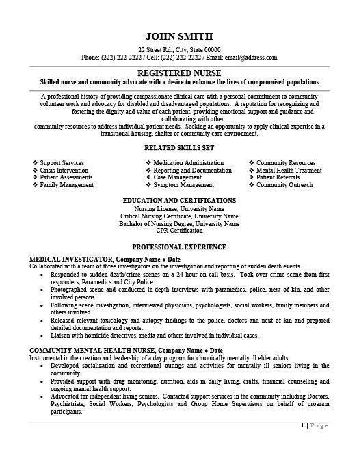 Sample Public Health Nurse Resume Registered Nurse Resume - mental health nurse resume