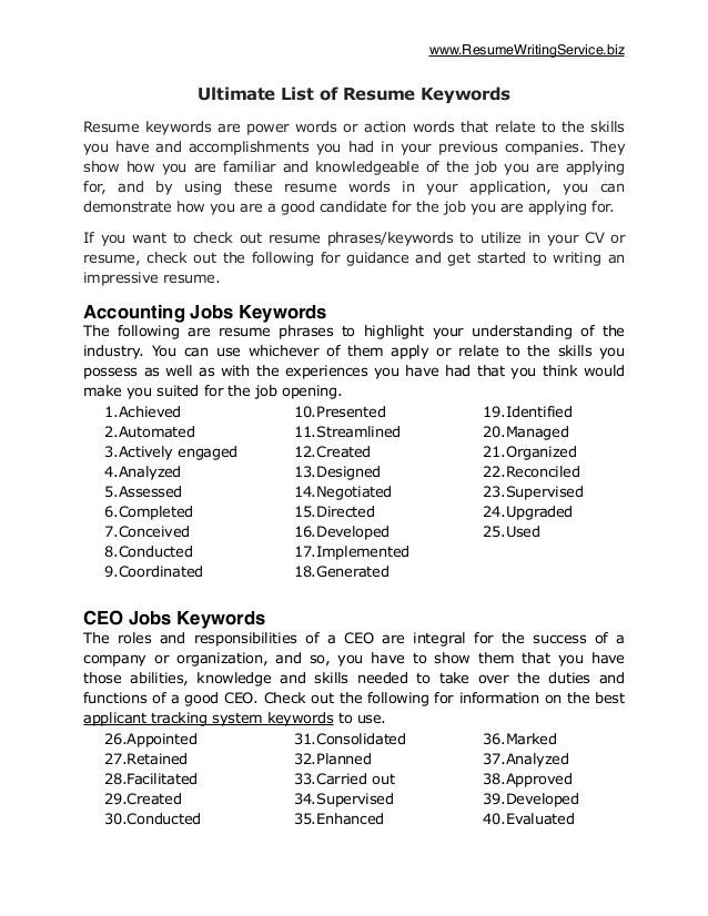 accounting resume power words writing a cv work history power