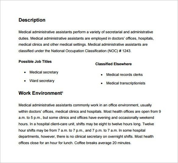 Job Description For Medical Administrative Assistant - medical secretary job description