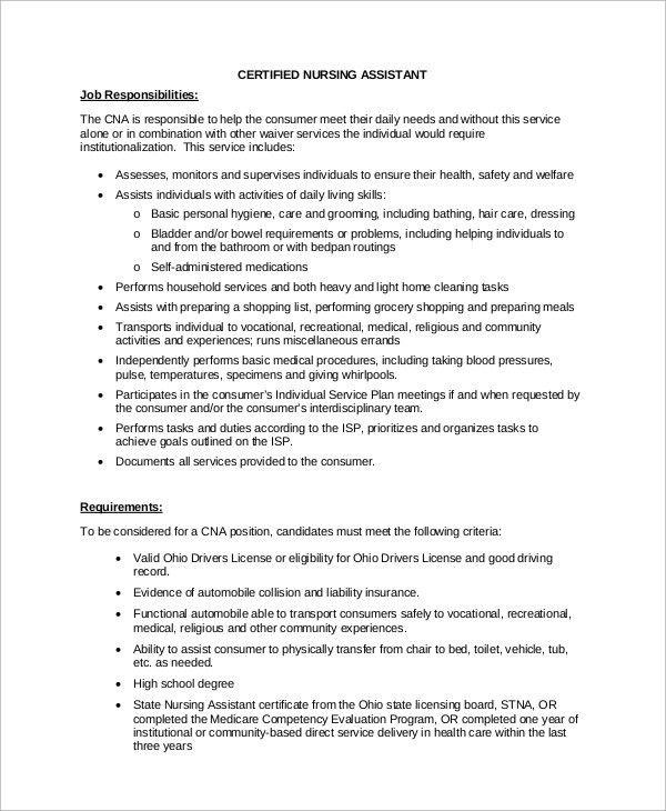 Nursing Assistant Job Duties 31 Nurse Assistant Sample Resume Cna - cna job description