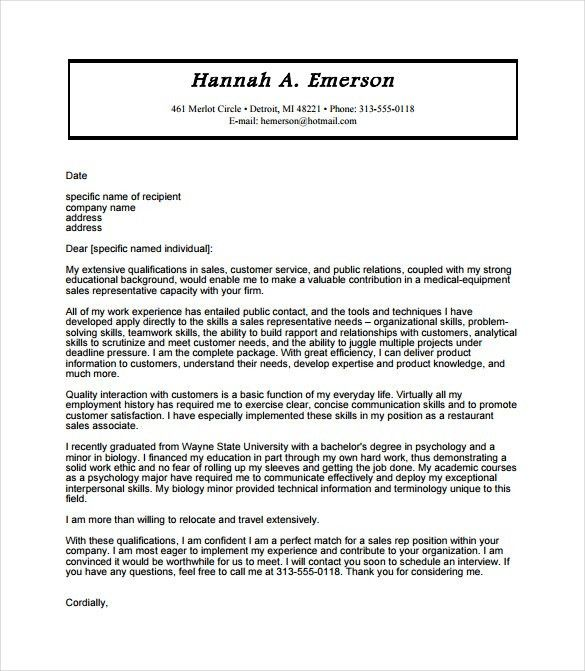 Example Cover Letter For Sales Salesperson Marketing Cover - resume cover letter examples for customer service