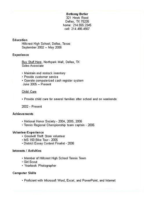 high school resume examples no experience student with no