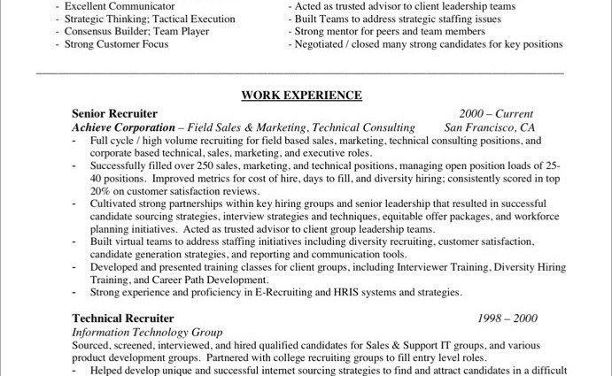Sales Team Recruiter Resume   Shalomhouse