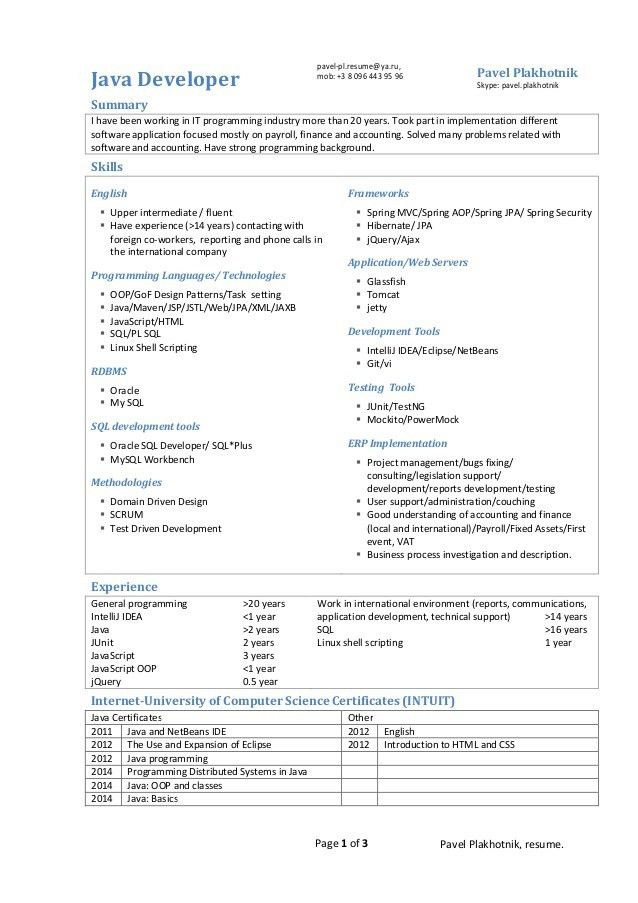 java developer resume sample resume sample education management