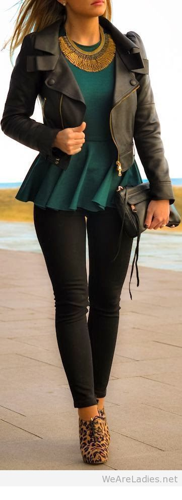 Black pants and jacket with green top